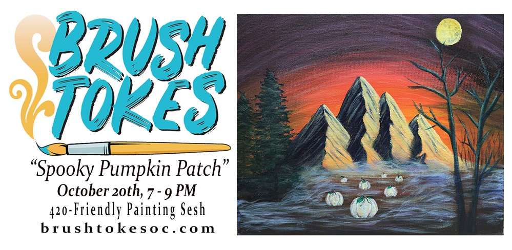 """Bob Ross' Spooky Pumpkin Patch"" PAINT SESSION  - October 20, 2018, 7-9 PM"
