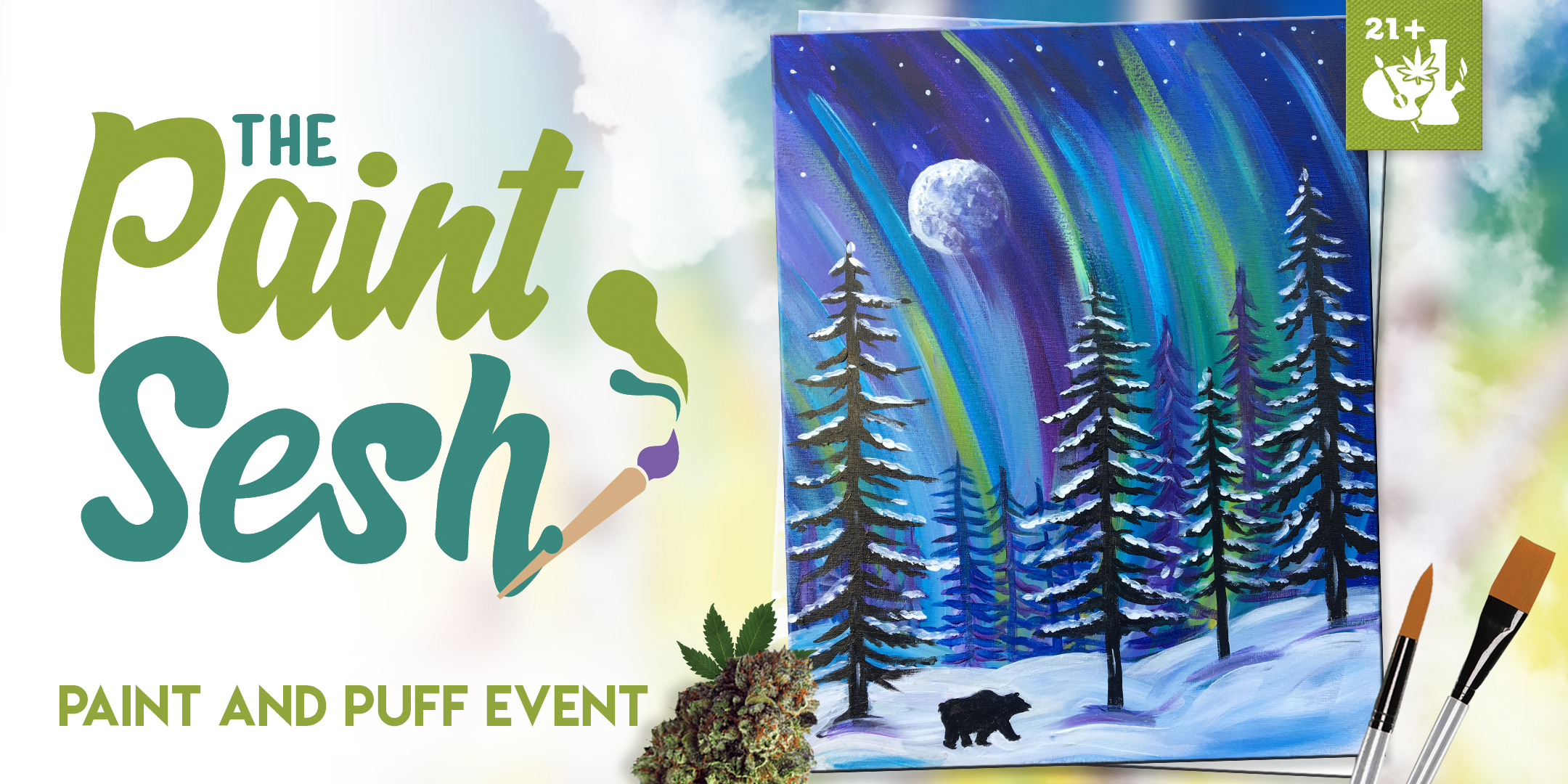 "Paint & Puff Sesh in Colton, CA – ""Winter Lights"""