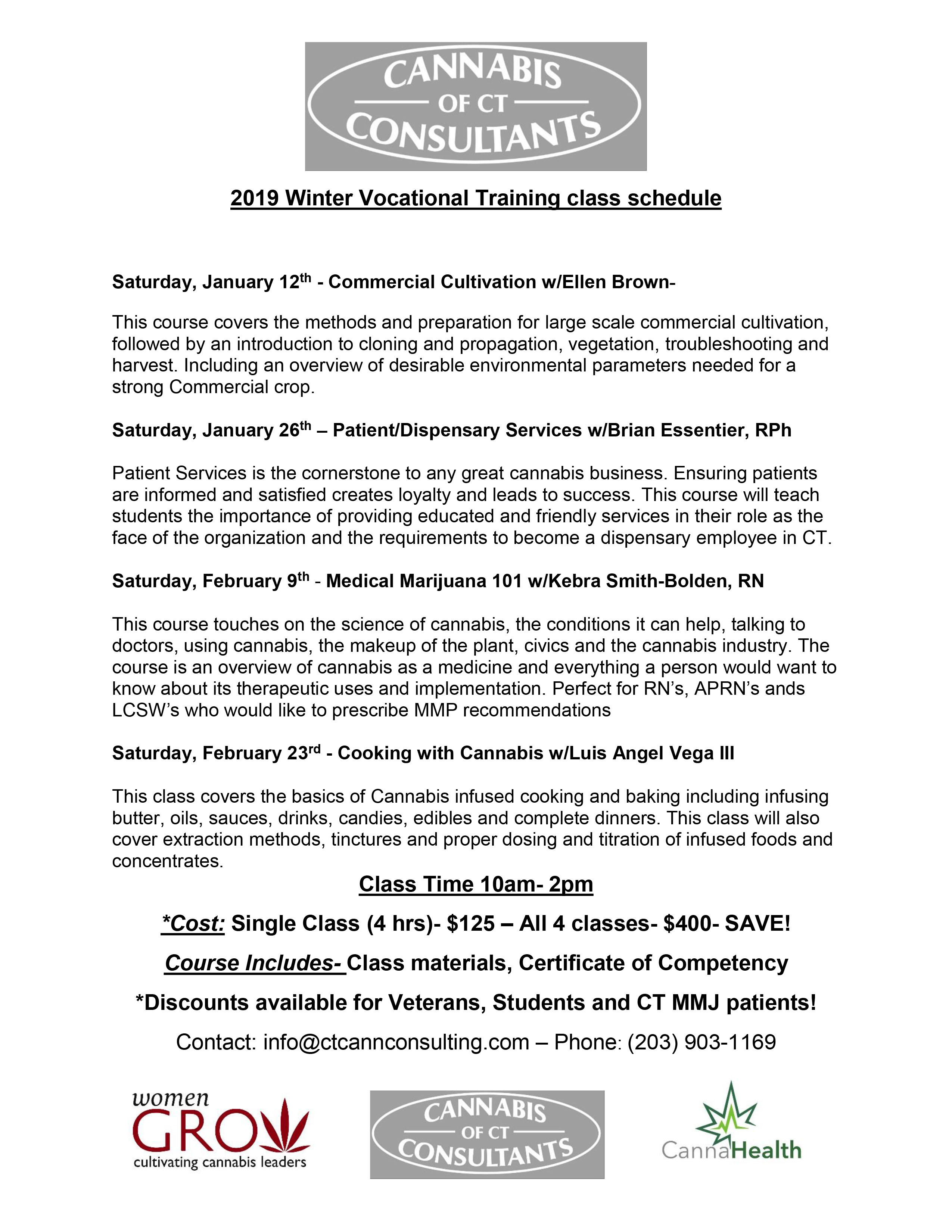 Cannabis Vocational Training- Winter classes