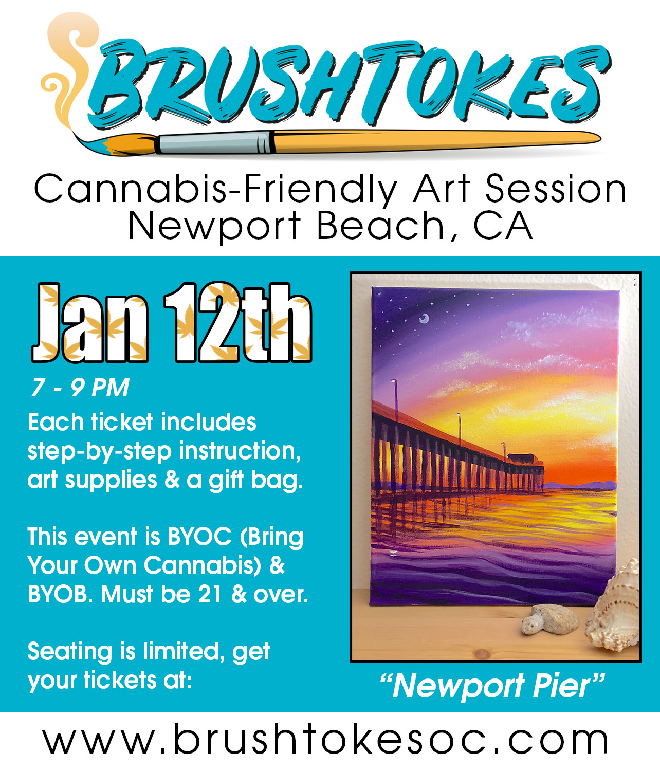 "Brush Tokes Paint & Smoke Session - ""Newport Beach Pier"""