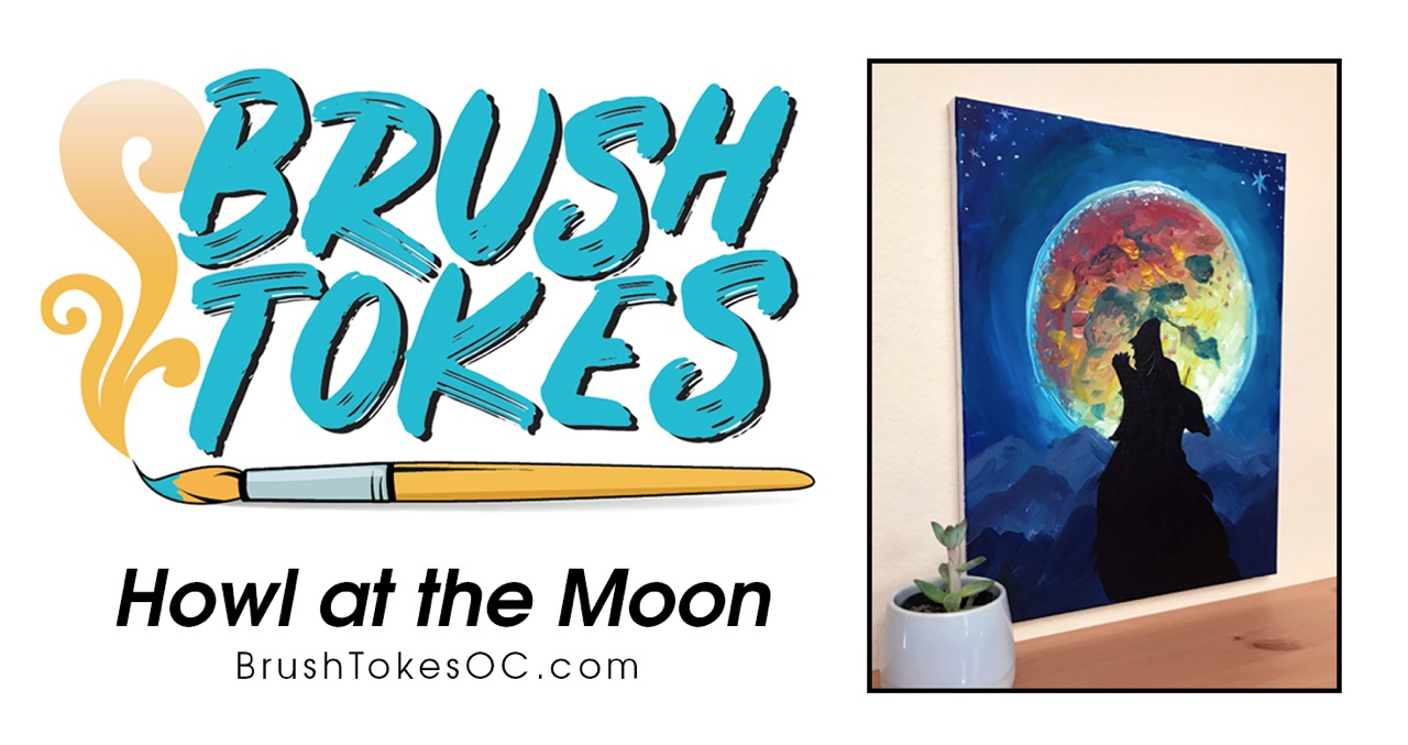 "Brush Tokes Puff & Paint Session ""Howl at the Moon"""