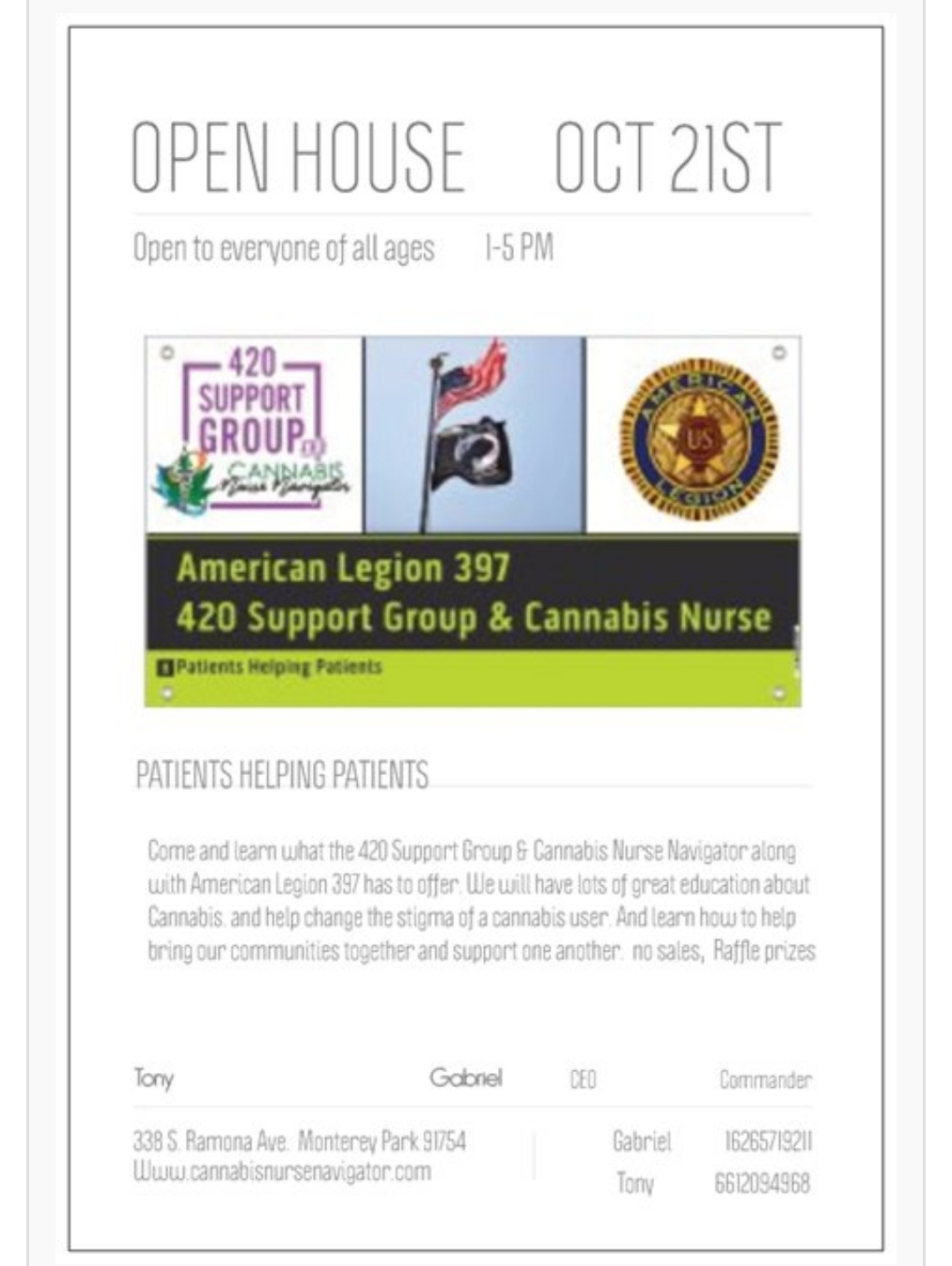 420 SUPPORT GROUP OPEN HOUSE