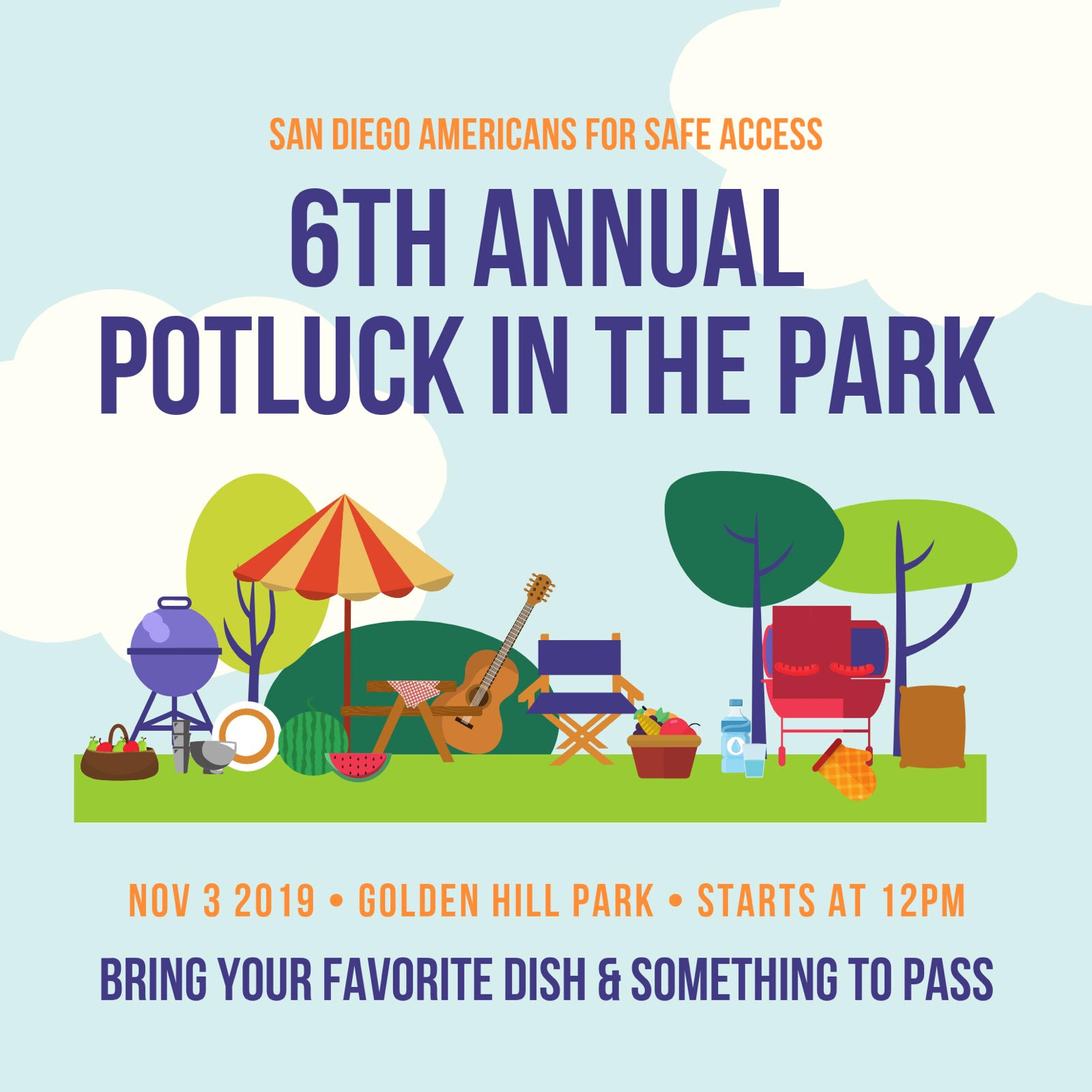 6th Annual Potluck in the Park, hosted by San Diego American for Safe Access