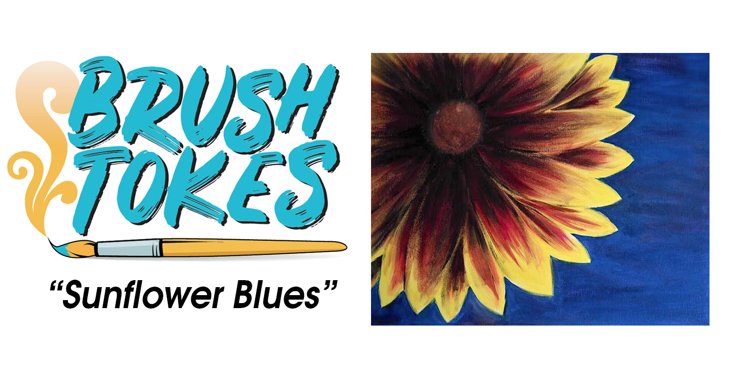 "BrushTokes 420-Friendly All-Inclusive Paint Session - ""Sunflower Blues"""