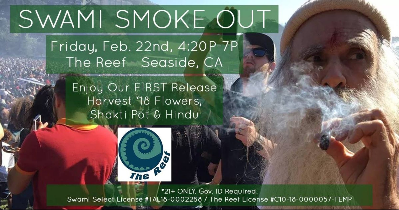 Swami Smoke Out at Monterey Bay Reef Seaside, Feb. 22nd, 4:20 PM - 7 PM