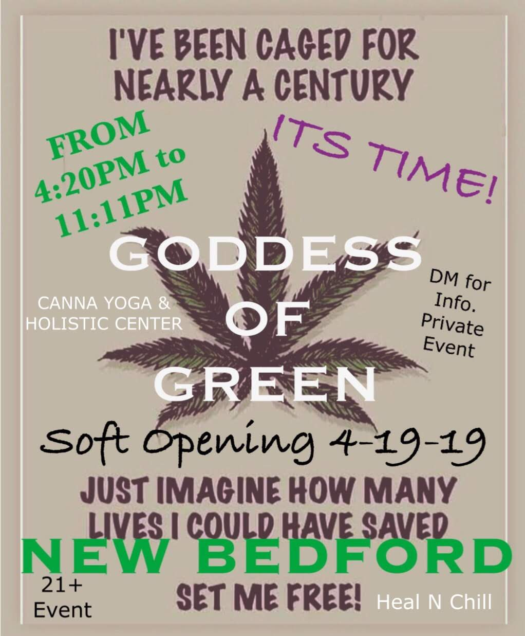 "Goddess of Green Kicks Off with a ""Free The Leaf"" Private Dinner Soft Opening Event of our Holistic Canna Yoga Center"