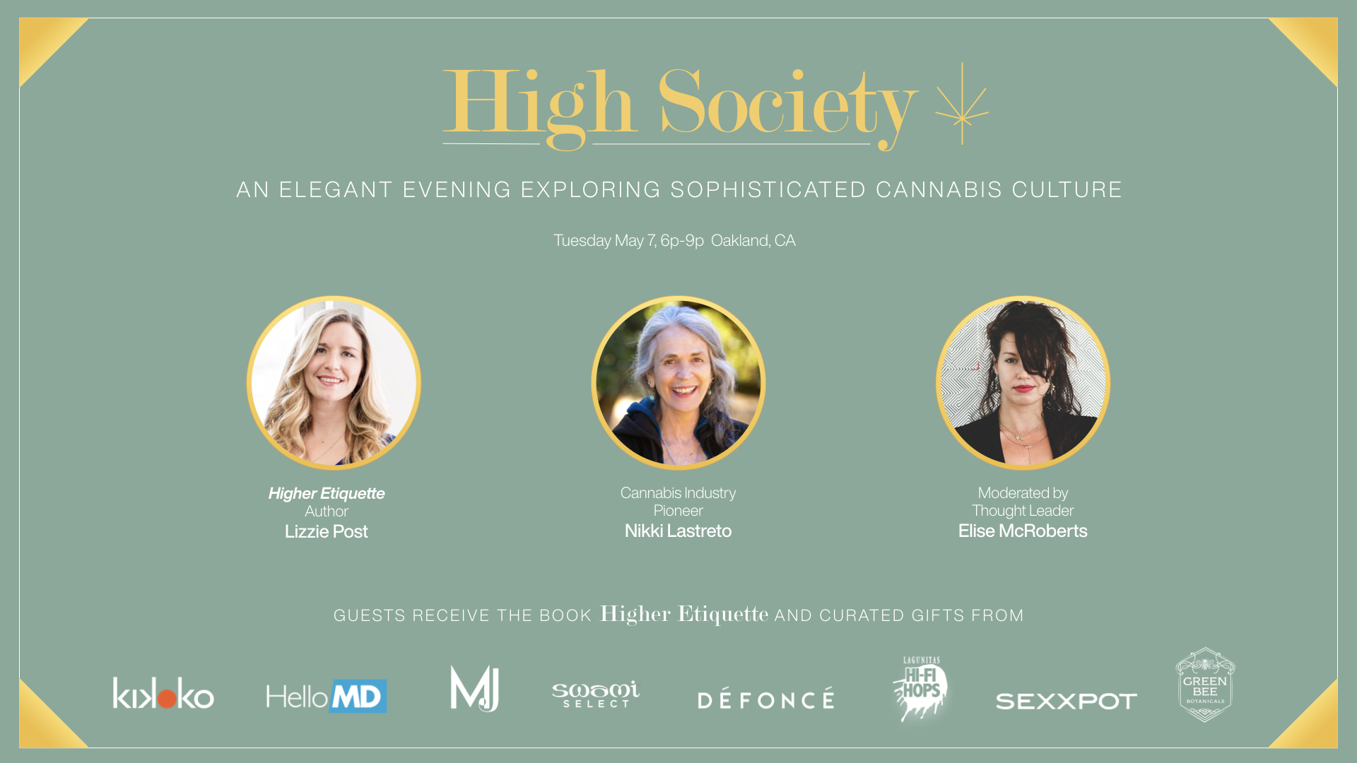 High Society  AN ELEGANT EVENING EXPLORING SOPHISTICATED CANNABIS CULTURE with Higher Etiquette Author Lizzie Post