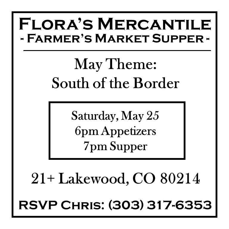 Flora's Farmer's Market Supper May 2019