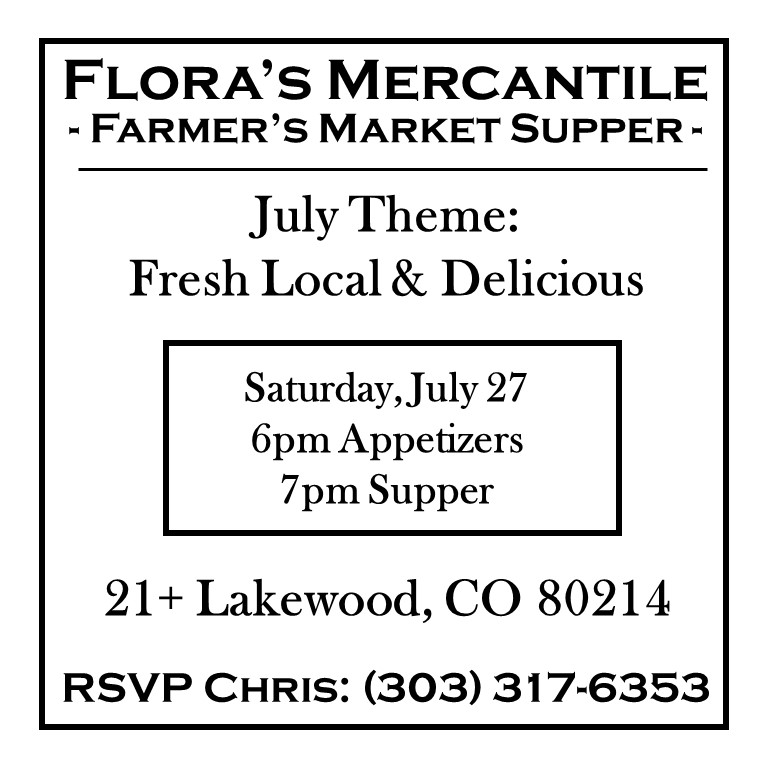 Flora's Farmer's Market Supper July 2019