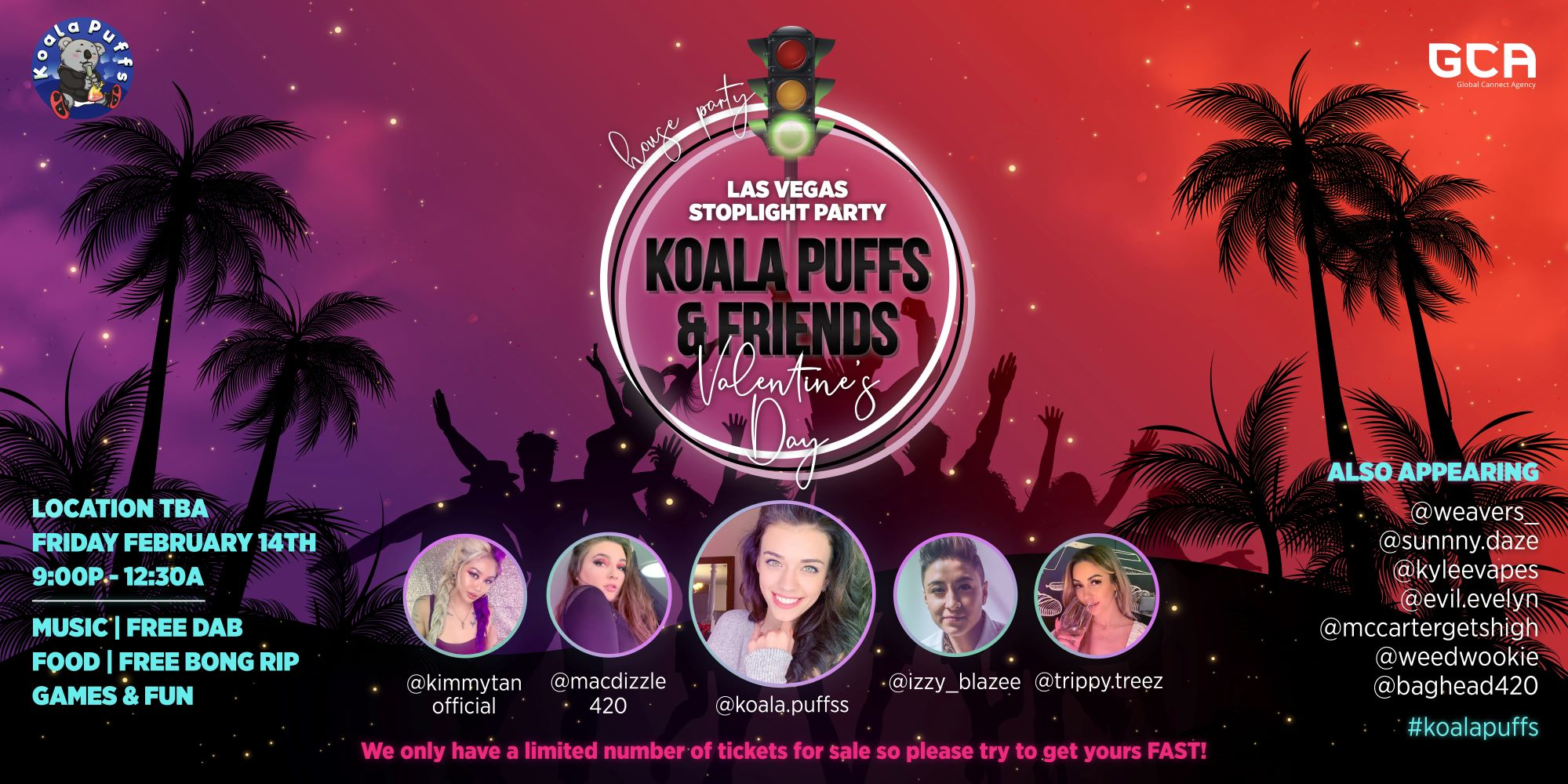 Koala Puffs Las Vegas Valentine's Day Stoplight Party