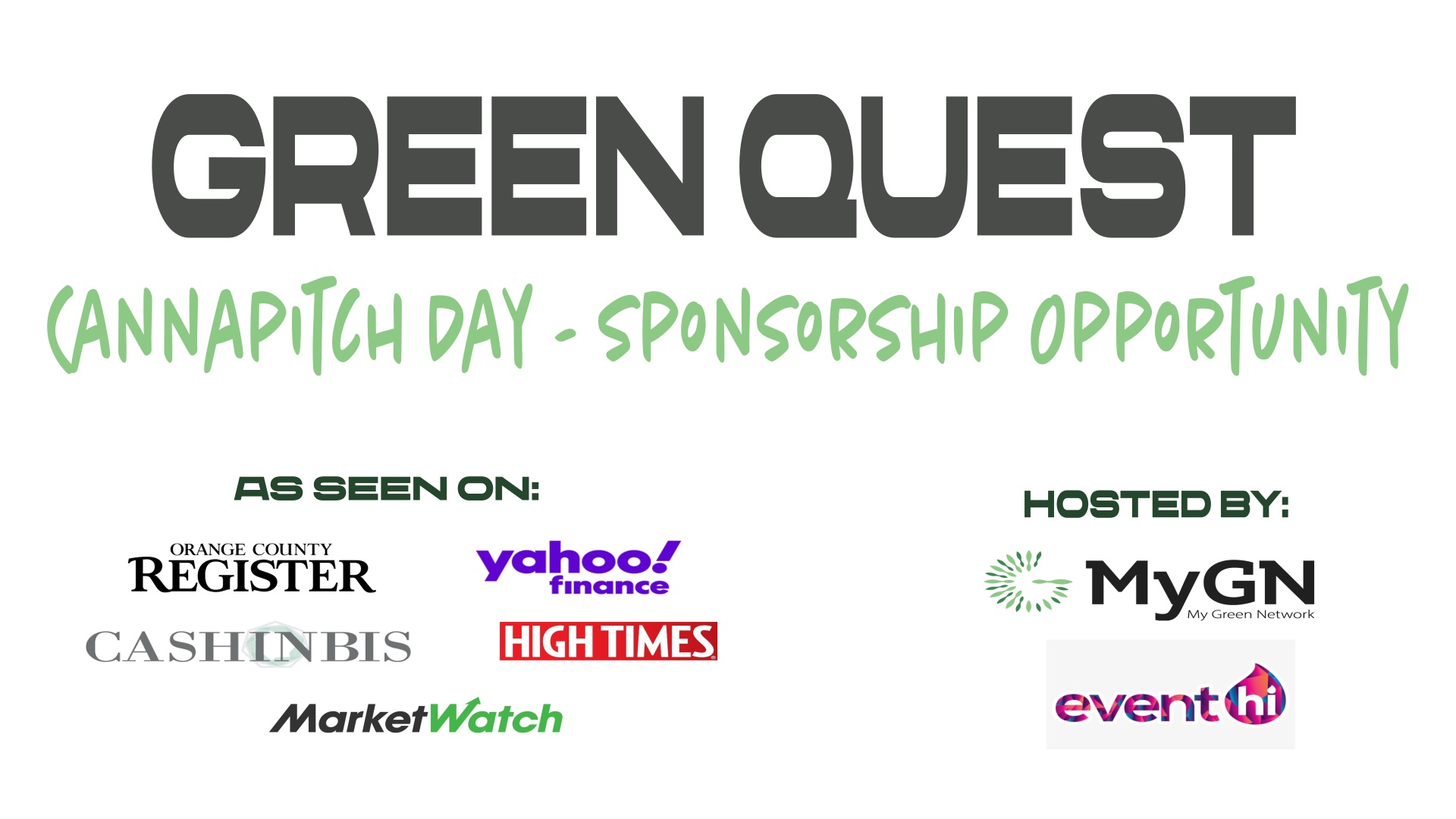 Green Quest - Cannapitch Day  - Sponsorship Opportunity