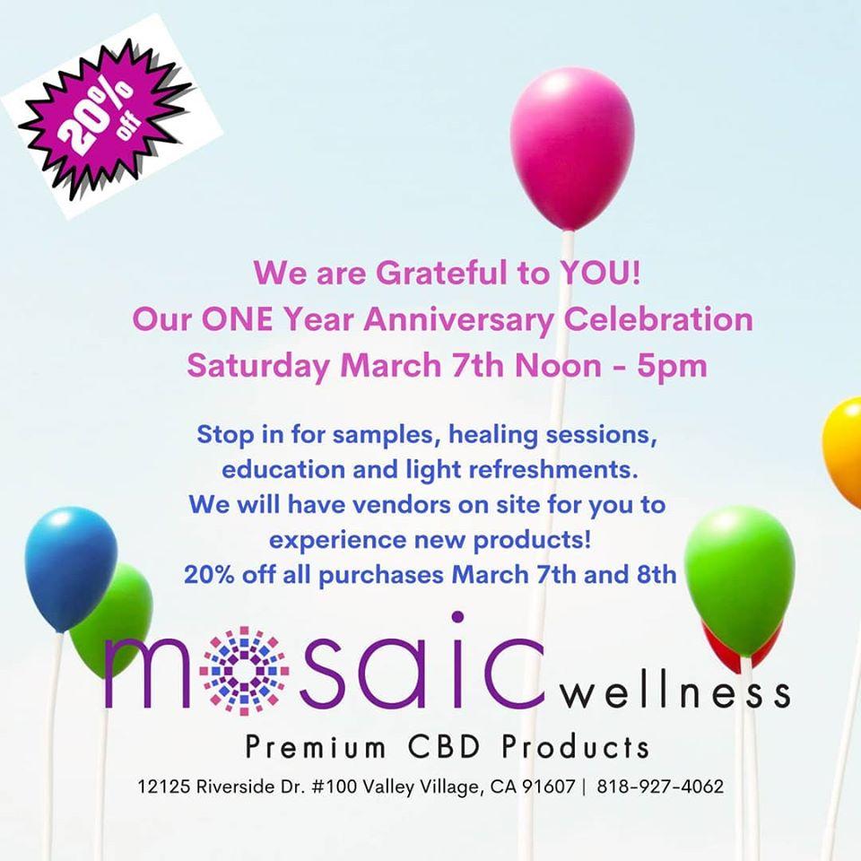 Mosaic Wellness ONE YEAR ANNIVERSARY celebration!