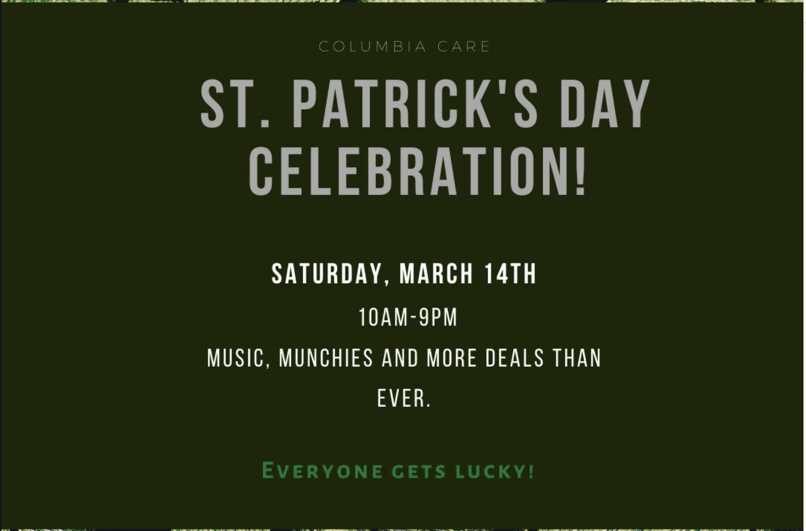 Get Lucky at Columbia Care's St Patty's Day Celebration