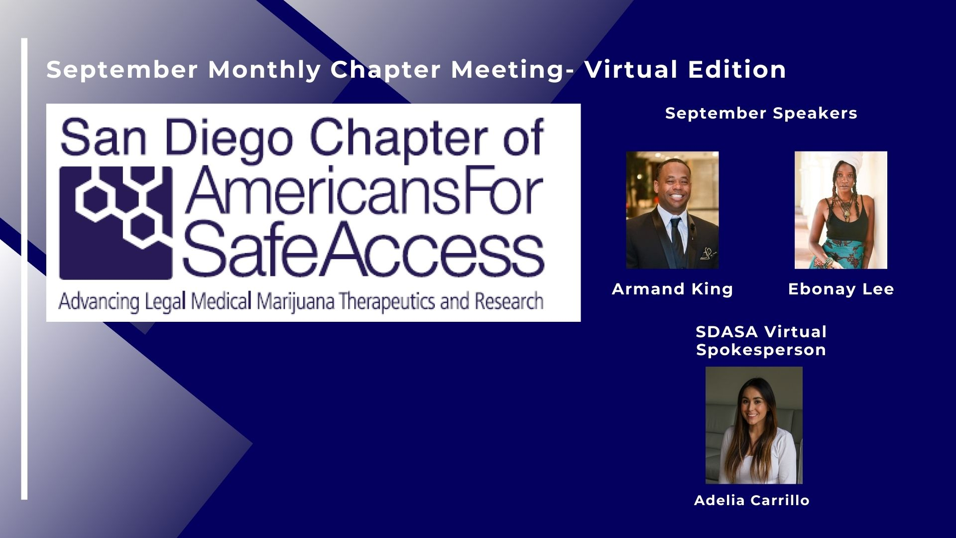 September Americans for Safe Access San Diego Monthly Meeting- Virtual Edition